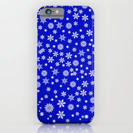 Snowflakes on Dark Blue iPhone Case