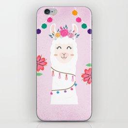 Cute Pink Llama - Boho Floral Alpaca with Pompoms iPhone Skin