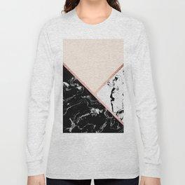 Modern black white marble rose gold color block stripes blush pink Long Sleeve T-shirt