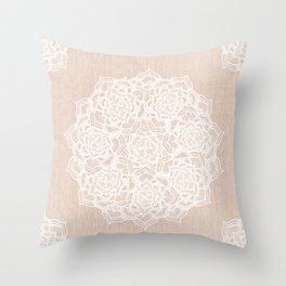 Modern boho Love Mandala pattern - Terracotta cream Throw Pillow