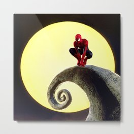 Spider man at night accompanied by moonlight Metal Print