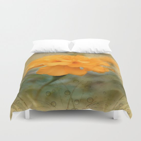 Orange Marigold  Raindrop Abstract Duvet Cover