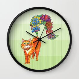 A Cat Sprouting Flowers Wall Clock