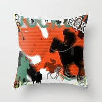 racing Throw Pillows featuring Horse Racing by Robin Curtiss