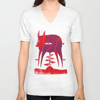 vegetable V-neck T-shirts featuring Vegetable Lamb of Tartary by camilla falsini
