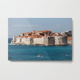 Walled Old City Of Dubrovnik On Adriatic Sea Metal Print