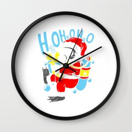 Diving Santa Christmas Dive Scuba Diver Wall Clock
