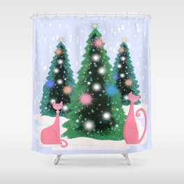 Pink And Perfect Kitty Cats In The Sparkling Snow Shower Curtain