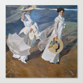 Joaquin Sorolla Y Bastida - Strolling along the seashore Canvas Print