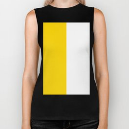 White and Gold Yellow Vertical Halves Biker Tank