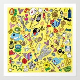 Geek Chic Megamix Yellow Art Print