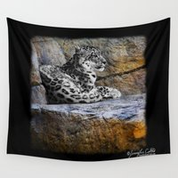 snow leopard Wall Tapestries featuring Snow Leopard by Jennifer Rose Cotts Photography