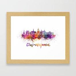 Cluj-Napoca skyline in watercolor splatter Framed Art Print