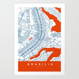BRASILIA Map Brasil | White | More Colors, Review My Collections Art Print