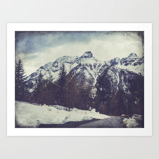 Snow on the Mountains Art Print
