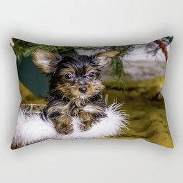 Tiny Yorkie Puppy in a Fuzzy Basket Sitting under a Christmas Tree Rectangular Pillow