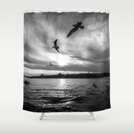 Istanbul : A Fusion of Black and White Shower Curtain