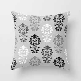 Heart Damask Art I Ptn Black White Greys Throw Pillow