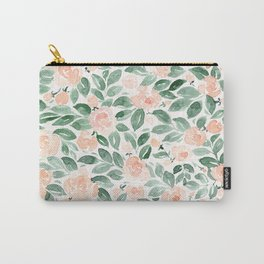 "Loose watercolor florals, ""Miriam"" Carry-All Pouch"