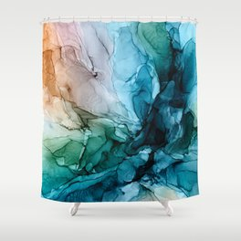Salty Shores Abstract Painting Shower Curtain