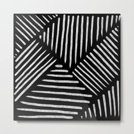 Lines and Patterns in Black and White Brush Metal Print