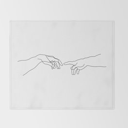 Creation of Adam Minimal Drawing Throw Blanket