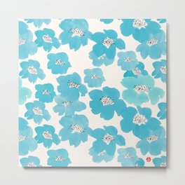 Camellia Flowers in Blue Pattern Metal Print