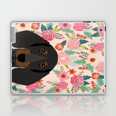 Dachshund florals cute pet gifts black and tan dachshund gifts for dog lover with weener dog  Laptop & iPad Skin