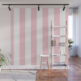 Large White and Light Millennial Pink Pastel Circus Tent Stripe Wall Mural