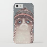 card iPhone & iPod Cases featuring Christmas Cat by Lime