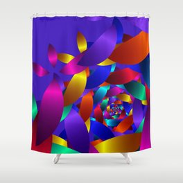 fractal forms on violet -1- Shower Curtain