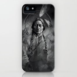 Black and white portrait-Sitting bull iPhone Case