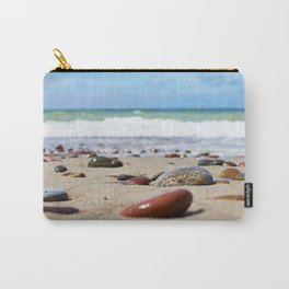Colorful stones on sand beach Carry-All Pouch