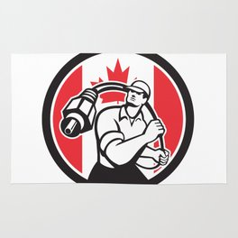 Canadian Cable Installer Canada Flag Icon Rug