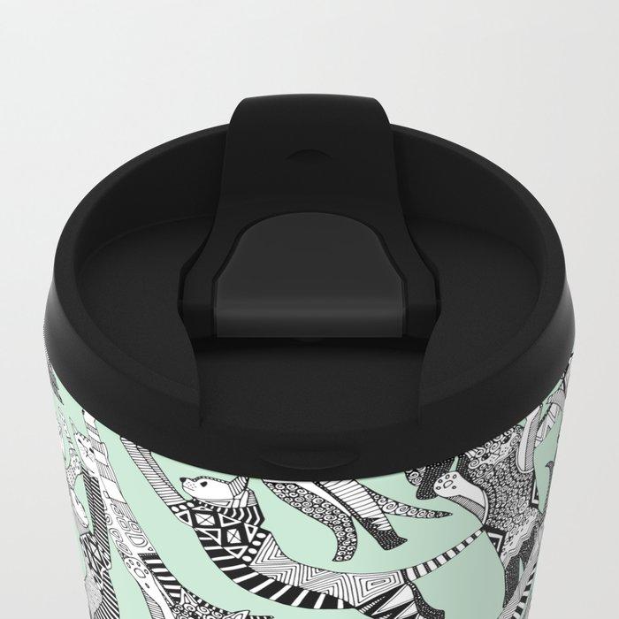 cat party mint Metal Travel Mug