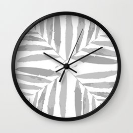 Geometric, silver, glitter, white, tropical, pattern, palm, leaves, society6 Wall Clock