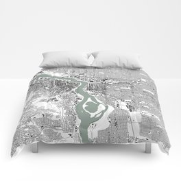 Portland, OR City Map Black/White Comforters