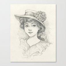 Sketch of an Edwardian Lady Canvas Print