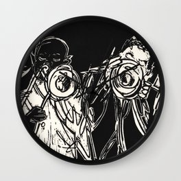 Blow Man Blow Jazz Musician Black and White Block Print Wall Clock