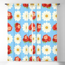 Strawberries and daisies Blackout Curtain