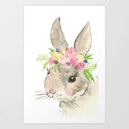 Bunny with flower crown watercolor Art Print