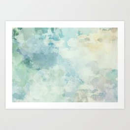 Cloudy watercolor landscape painting, abstract artwork Art Print