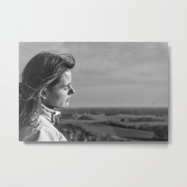 Girl Enjoys Moody Sundown At Tecklenburger Bergpfad Germany bw Metal Print