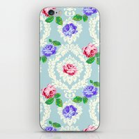 shabby chic iPhone & iPod Skins featuring Shabby Chic Rose Pattern by Figen Topbas