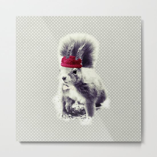 Squirrel & Bow Metal Print