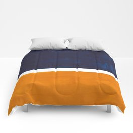 Navy Blue Yellow Ochre Abstract Minimalist Rothko Colorful Mid Century Color Block Pattern Comforters