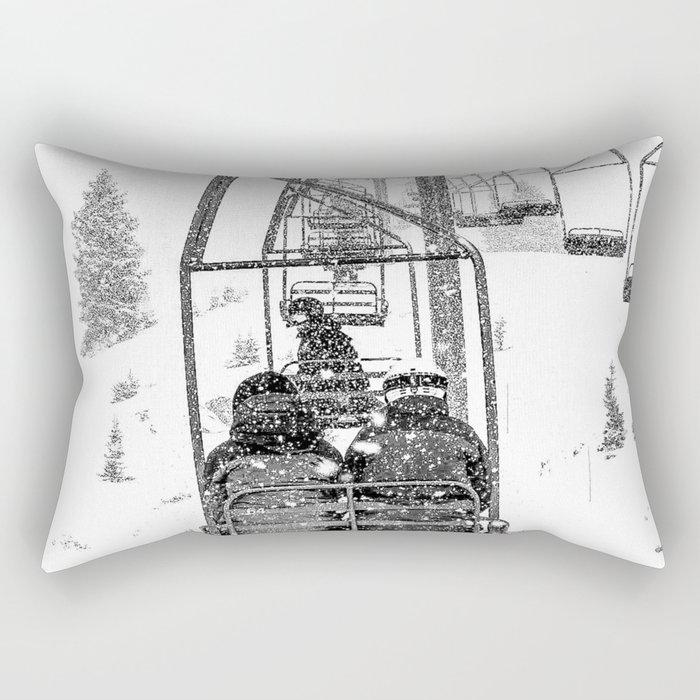 Snow Lift // Ski Chair Lift Colorado Mountains Black and White Snowboarding Vibes Photography Rectangular Pillow