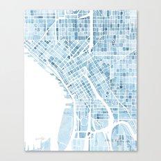 Map Seattle Washington Blueprint watercolor map Canvas Print