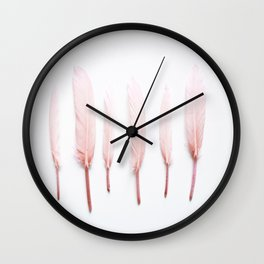 Pale Feathers Wall Clock