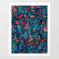 Tropical Ink - a watercolor garden Art Print